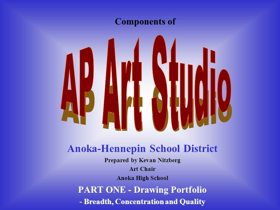 2004: Studio Art Drawing Grade Distribution Statistics Examination GradeStudio Art Drawing N% At 51,32111.3 41,94816.6 34,28436.6 23,20227.4 19528.1 Number of Students11,707 3 or Higher / %7,55364.5 Mean Grade 2.96 Standard Deviation1.10