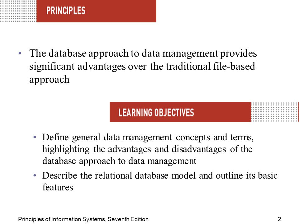 Principles of Information Systems, Seventh Edition2 The database approach to data management provides significant advantages over the traditional file-based approach Define general data management concepts and terms, highlighting the advantages and disadvantages of the database approach to data management Describe the relational database model and outline its basic features