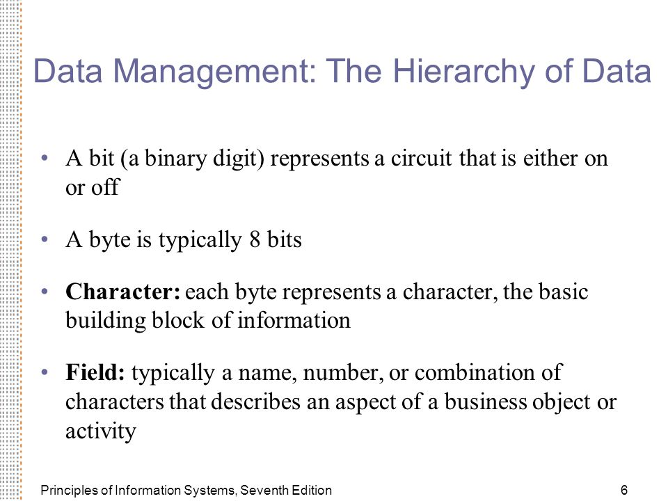 Principles of Information Systems, Seventh Edition6 Data Management: The Hierarchy of Data A bit (a binary digit) represents a circuit that is either on or off A byte is typically 8 bits Character: each byte represents a character, the basic building block of information Field: typically a name, number, or combination of characters that describes an aspect of a business object or activity