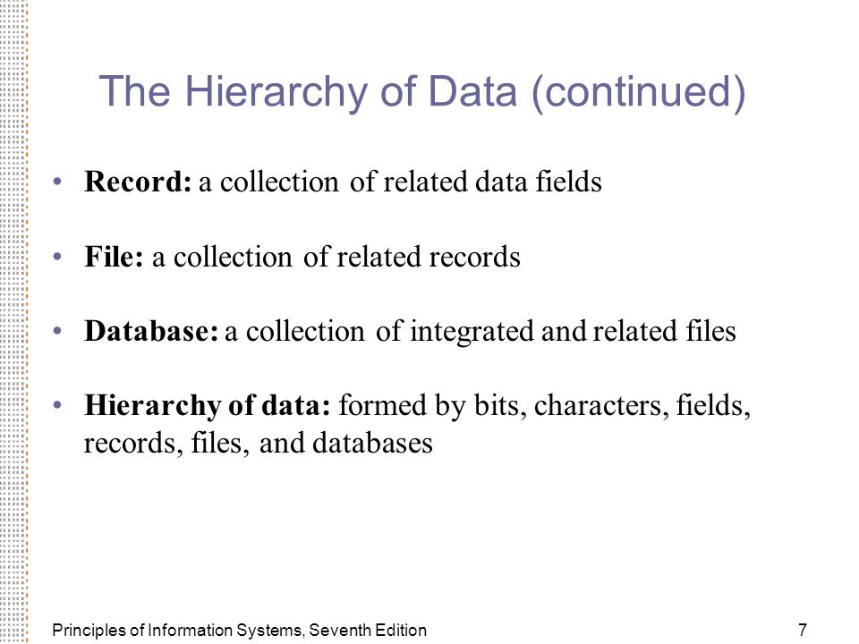 Principles of Information Systems, Seventh Edition7 The Hierarchy of Data (continued) Record: a collection of related data fields File: a collection of related records Database: a collection of integrated and related files Hierarchy of data: formed by bits, characters, fields, records, files, and databases