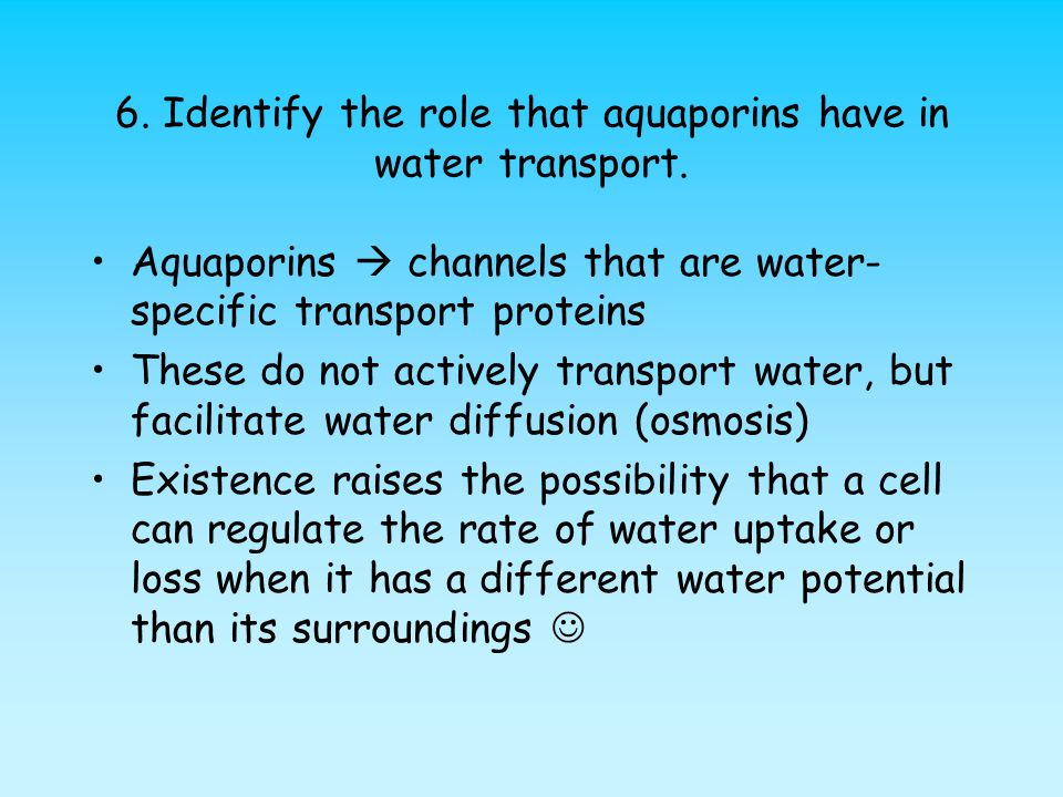 6.Identify the role that aquaporins have in water transport.