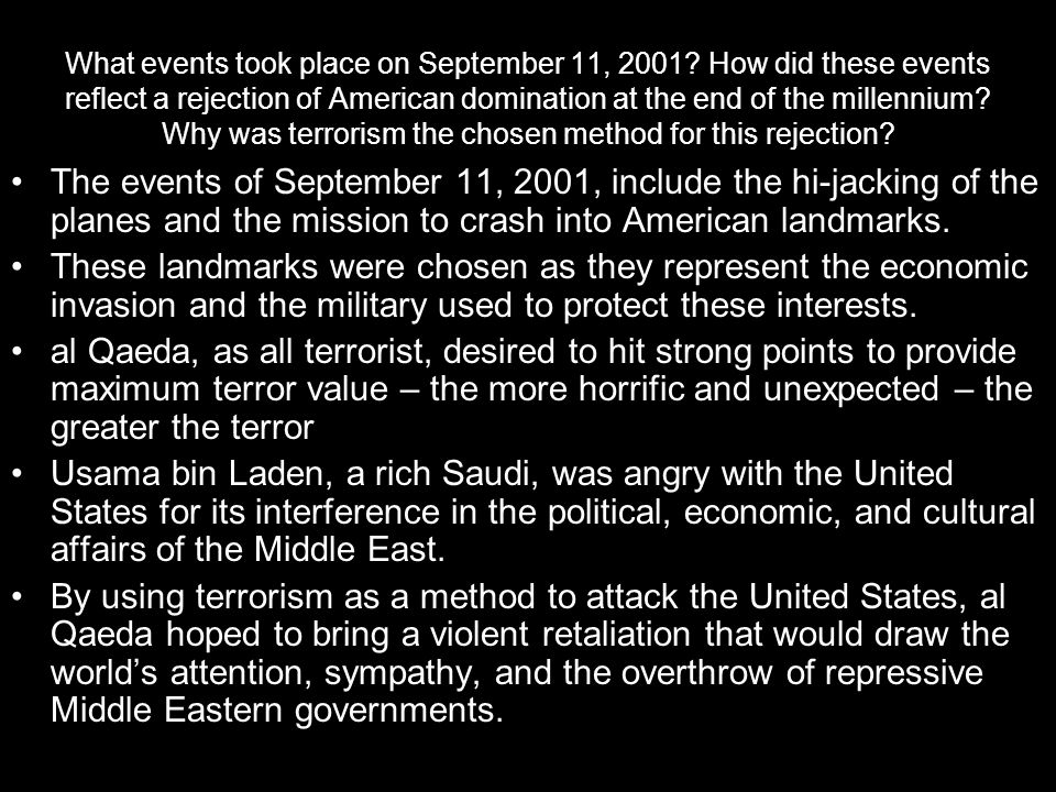 What events took place on September 11, 2001.
