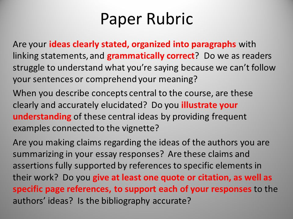 Paper Rubric Are your ideas clearly stated, organized into paragraphs with linking statements, and grammatically correct.