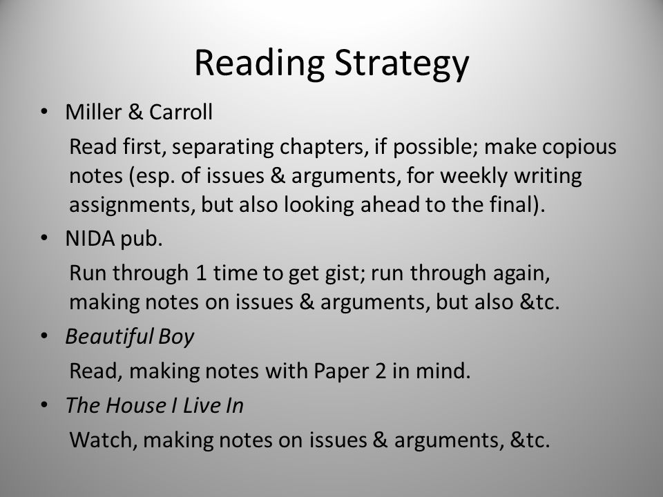 Reading Strategy Miller & Carroll Read first, separating chapters, if possible; make copious notes (esp.
