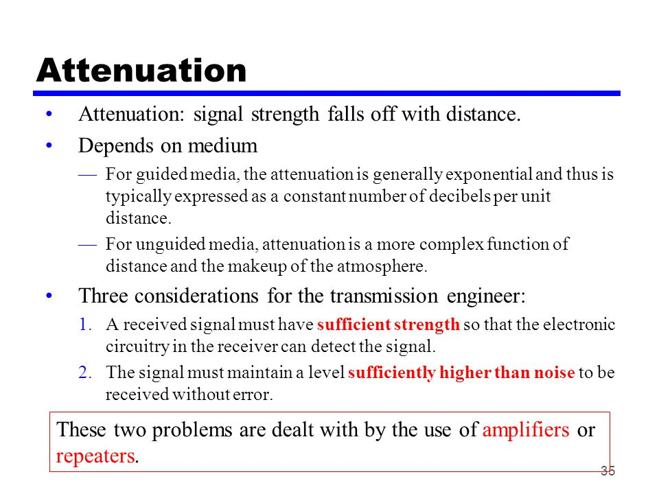 35 Attenuation Attenuation: signal strength falls off with distance. Depends on medium —For guided media, the attenuation is generally exponential and