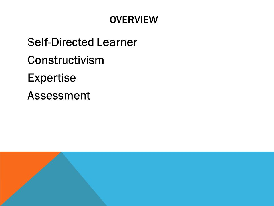 OVERVIEW Self-Directed Learner Constructivism Expertise Assessment