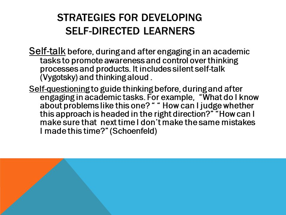 STRATEGIES FOR DEVELOPING SELF-DIRECTED LEARNERS Self-talk before, during and after engaging in an academic tasks to promote awareness and control over thinking processes and products.