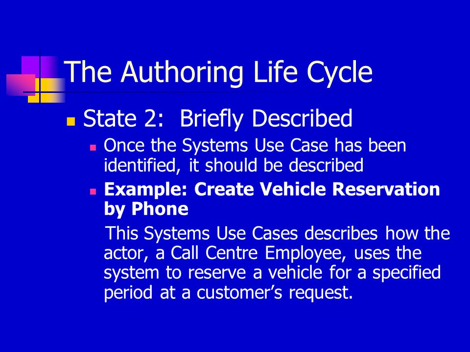 The Authoring Life Cycle State 2: Briefly Described Once the Systems Use Case has been identified, it should be described Example: Create Vehicle Rese