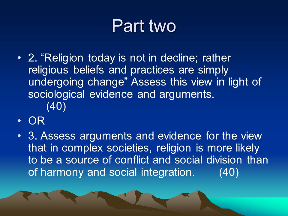 Part one 1 (a) Identify and briefly describe two differences between a church and a sect (Item A line 8) (8) (b) Using material from item A and elsewhere, briefly examine some of the reasons why certain types of religious beliefs appeal to members of certain social groups.