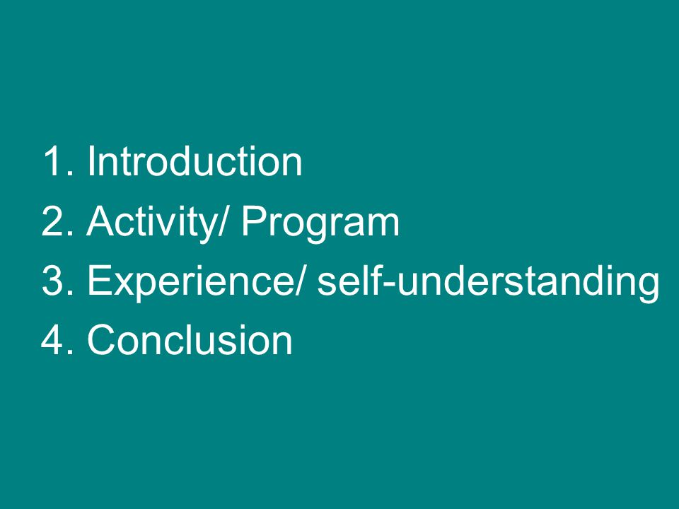 1.Introduction 2.Activity/ Program 3.Experience/ self-understanding 4.Conclusion