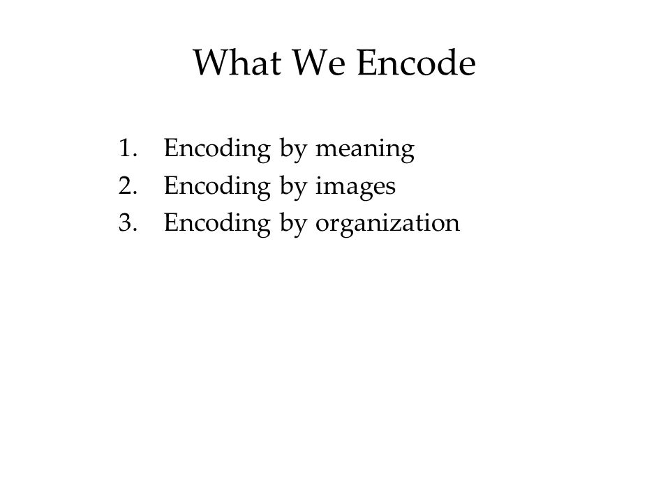 What We Encode 1.Encoding by meaning 2.Encoding by images 3.Encoding by organization