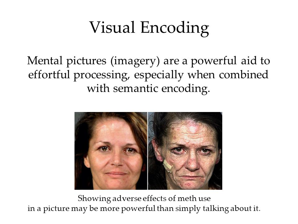 Visual Encoding Mental pictures (imagery) are a powerful aid to effortful processing, especially when combined with semantic encoding. Showing adverse