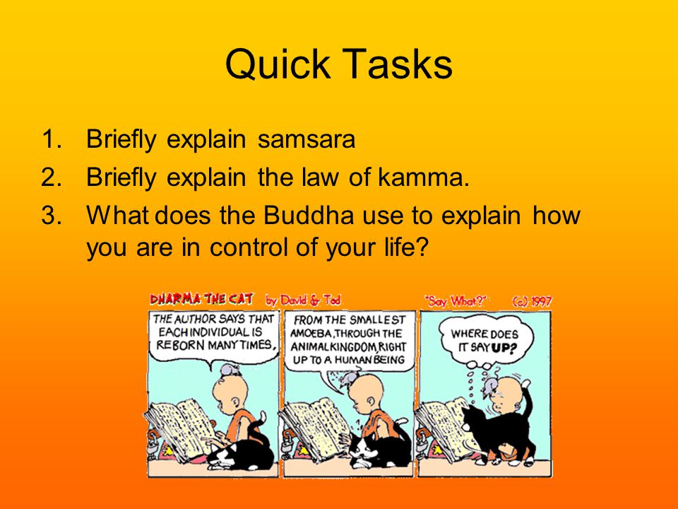 Quick Tasks 1.Briefly explain samsara 2.Briefly explain the law of kamma.