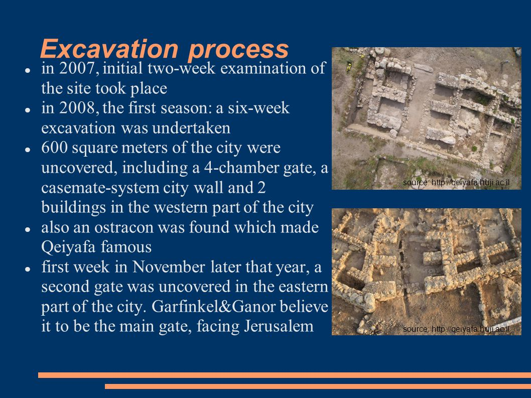 Excavation process in 2007, initial two-week examination of the site took place in 2008, the first season: a six-week excavation was undertaken 600 sq