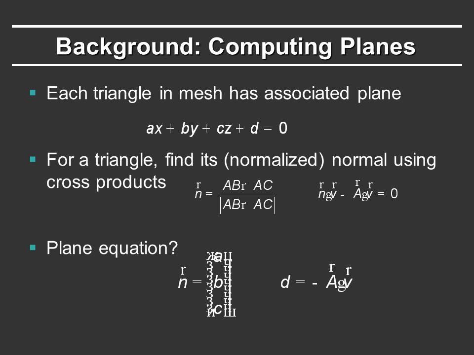 Quadric Error Metrics  Sum of squared distances from vertex to planes: