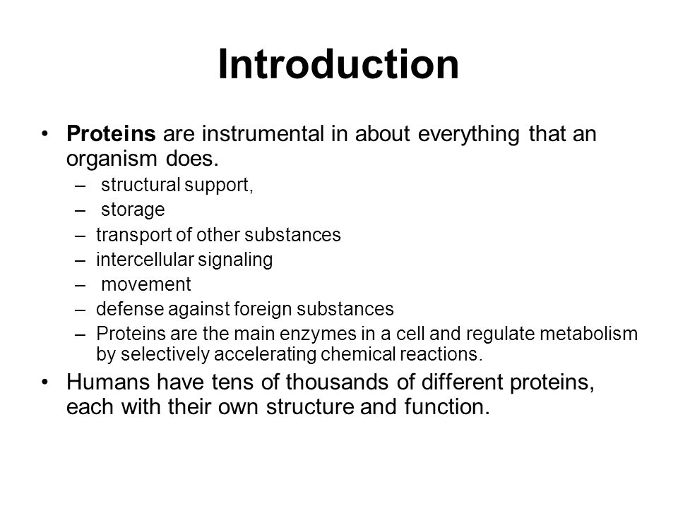 Introduction Proteins are instrumental in about everything that an organism does. – structural support, – storage –transport of other substances –inte