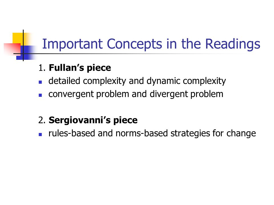 Important Concepts in the Readings 1.