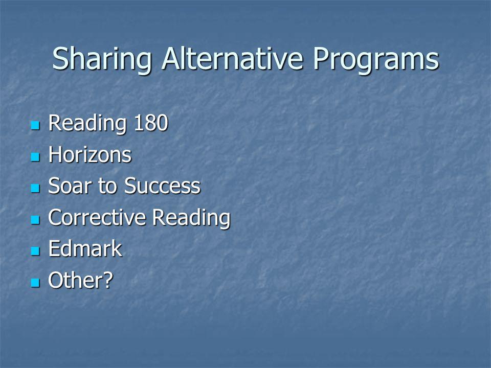 Sharing Alternative Programs Reading 180 Reading 180 Horizons Horizons Soar to Success Soar to Success Corrective Reading Corrective Reading Edmark Ed