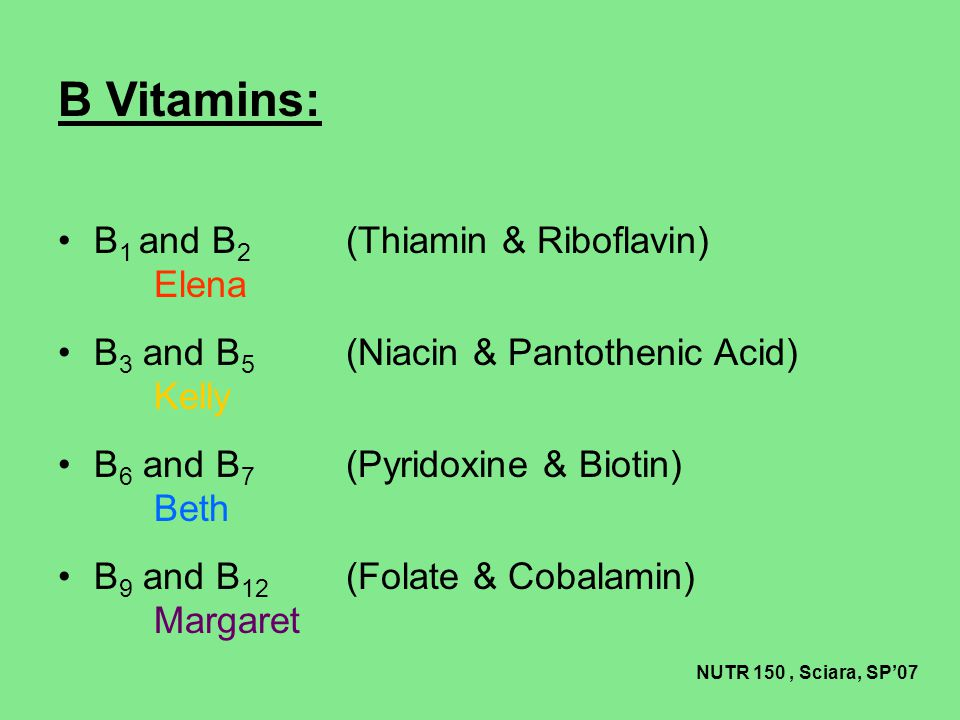 Vitamin B 7 (Biotin) Food sources Beans Breads Brewer's yeast Cauliflower Chocolate Liver Legumes Meat Egg yolk Soy Bananas Mushrooms