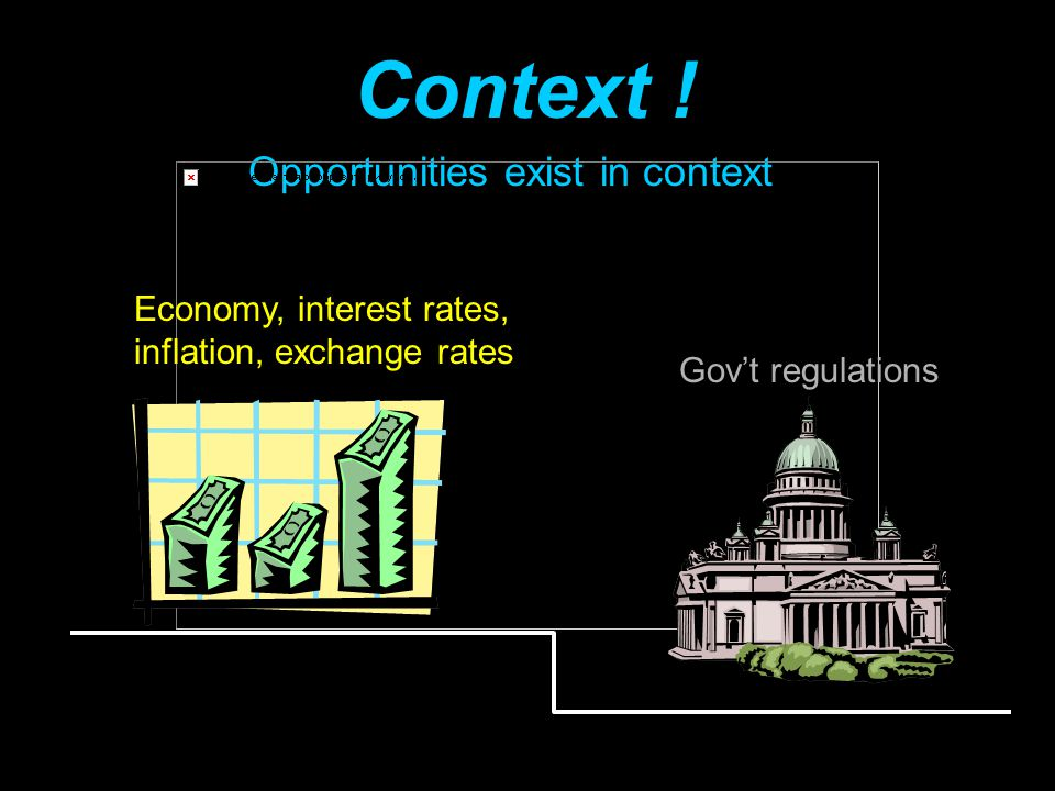 Opportunities exist in context Context ! Economy, interest rates, inflation, exchange rates Gov't regulations