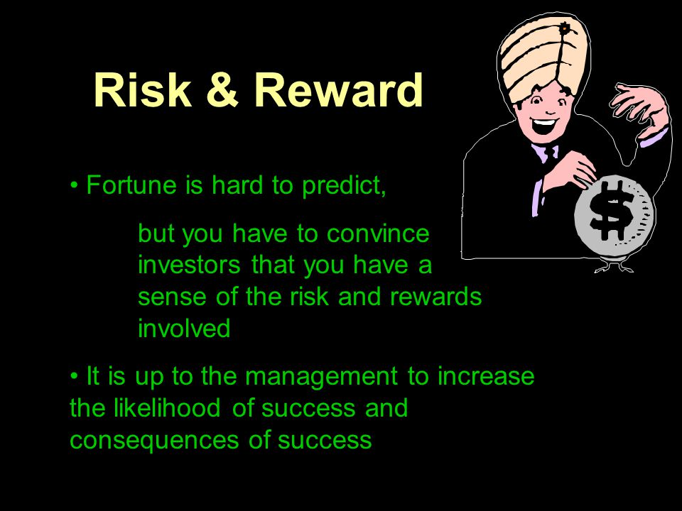 Risk & Reward Fortune is hard to predict, but you have to convince investors that you have a sense of the risk and rewards involved It is up to the ma