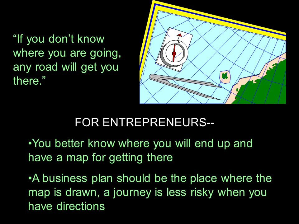 """If you don't know where you are going, any road will get you there."" FOR ENTREPRENEURS-- You better know where you will end up and have a map for get"