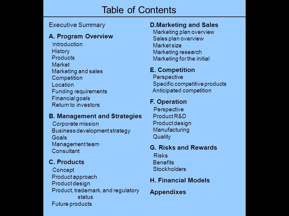 Table of Contents Executive Summary A. Program Overview Introduction History Products Market Marketing and sales Competition Location Funding requirem