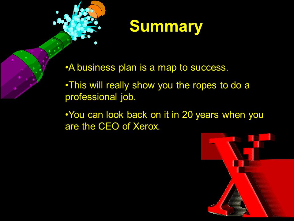 Summary A business plan is a map to success. This will really show you the ropes to do a professional job. You can look back on it in 20 years when yo