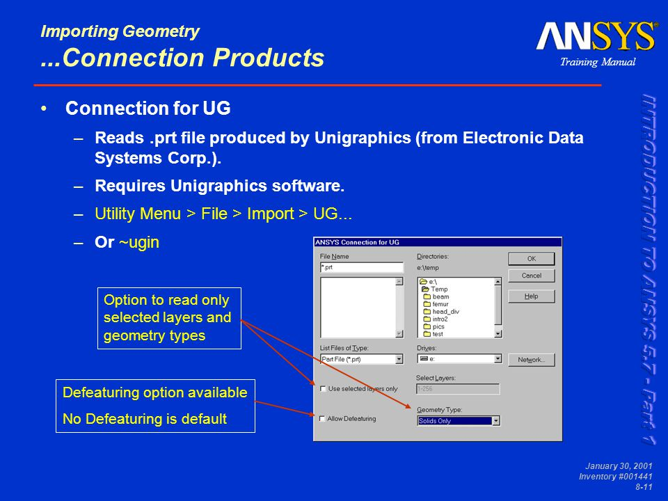 Training Manual January 30, 2001 Inventory #001441 8-11 Importing Geometry...Connection Products Connection for UG –Reads.prt file produced by Unigraphics (from Electronic Data Systems Corp.).