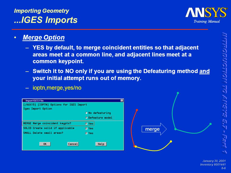 Training Manual January 30, 2001 Inventory #001441 8-6 Importing Geometry...IGES Imports Merge Option –YES by default, to merge coincident entities so that adjacent areas meet at a common line, and adjacent lines meet at a common keypoint.