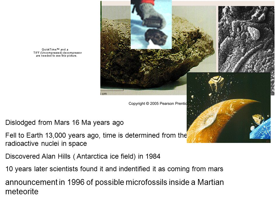 Dislodged from Mars 16 Ma years ago Fell to Earth 13,000 years ago, time is determined from the exposure to radioactive nuclei in space Discovered Ala