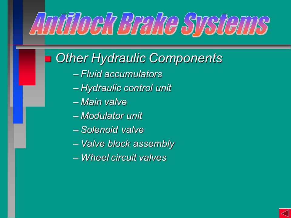 n Other Hydraulic Components –Fluid accumulators –Hydraulic control unit –Main valve –Modulator unit –Solenoid valve –Valve block assembly –Wheel circuit valves