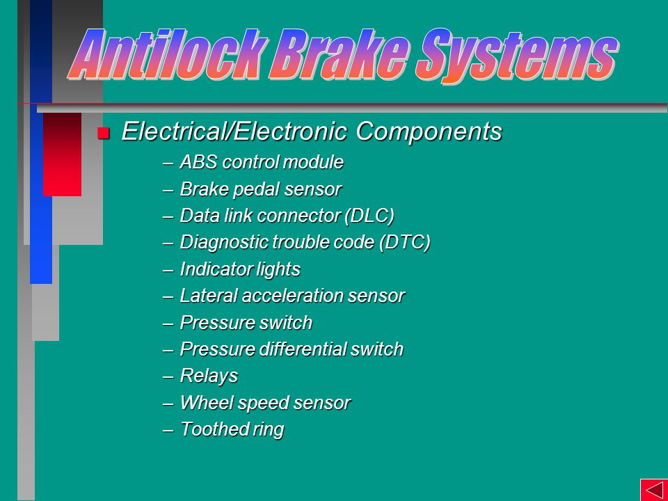 n Electrical/Electronic Components –ABS control module –Brake pedal sensor –Data link connector (DLC) –Diagnostic trouble code (DTC) –Indicator lights –Lateral acceleration sensor –Pressure switch –Pressure differential switch –Relays –Wheel speed sensor –Toothed ring