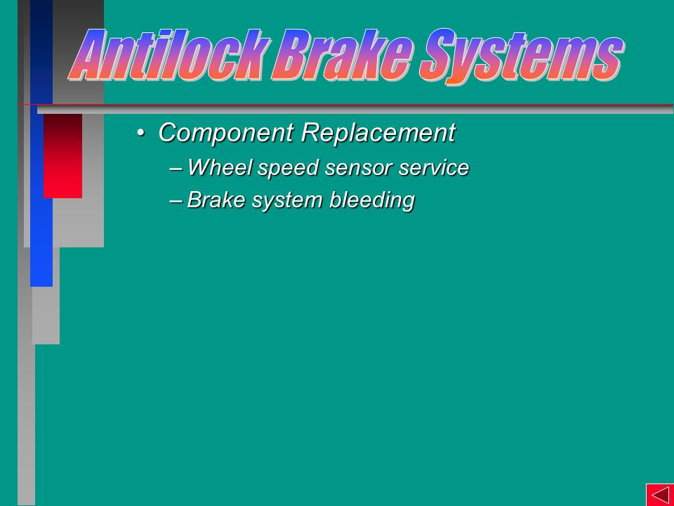 Component ReplacementComponent Replacement –Wheel speed sensor service –Brake system bleeding
