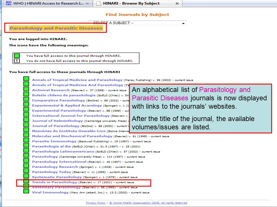 Accessing journals by subject 4 An alphabetical list of Parasitology and Parasitic Diseases journals is now displayed with links to the journals' webs