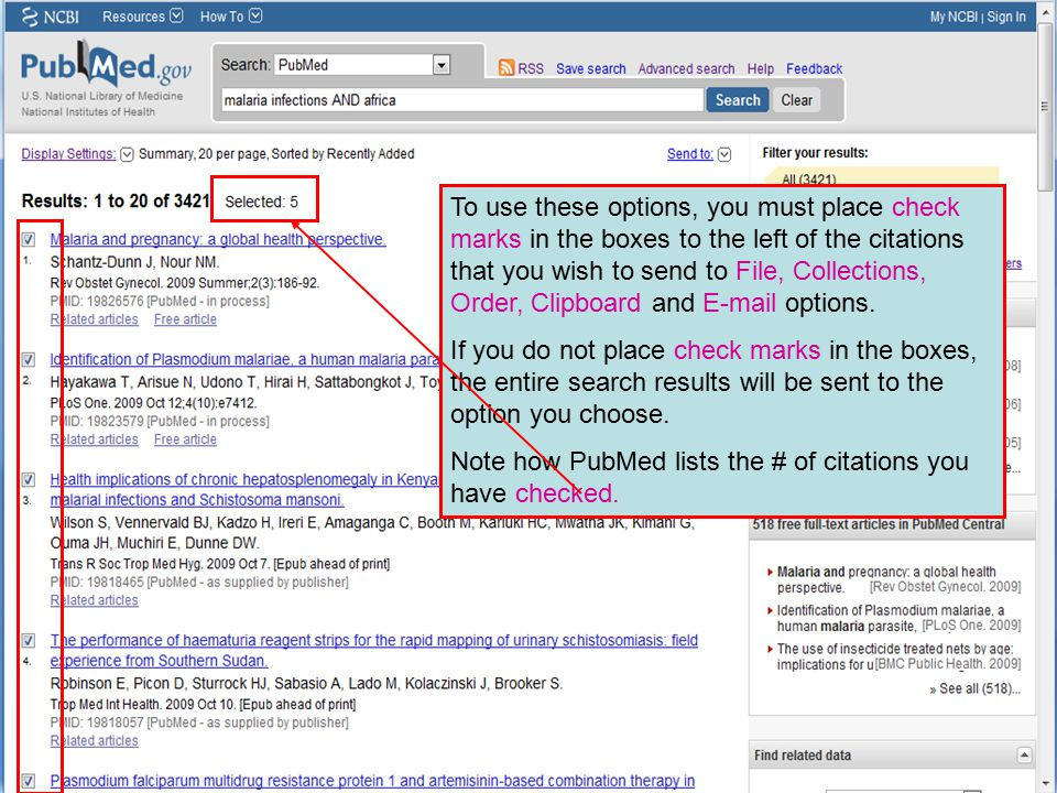 To use these options, you must place check marks in the boxes to the left of the citations that you wish to send to File, Collections, Order, Clipboar