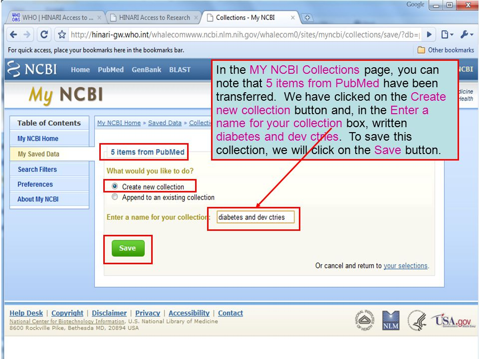 In the MY NCBI Collections page, you can note that 5 items from PubMed have been transferred. We have clicked on the Create new collection button and,