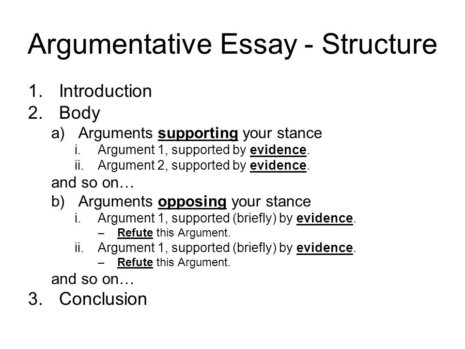 argumentative essay structuring your essay argumentative essay  argumentative essay structure 1 introduction 2 body a arguments supporting your stance