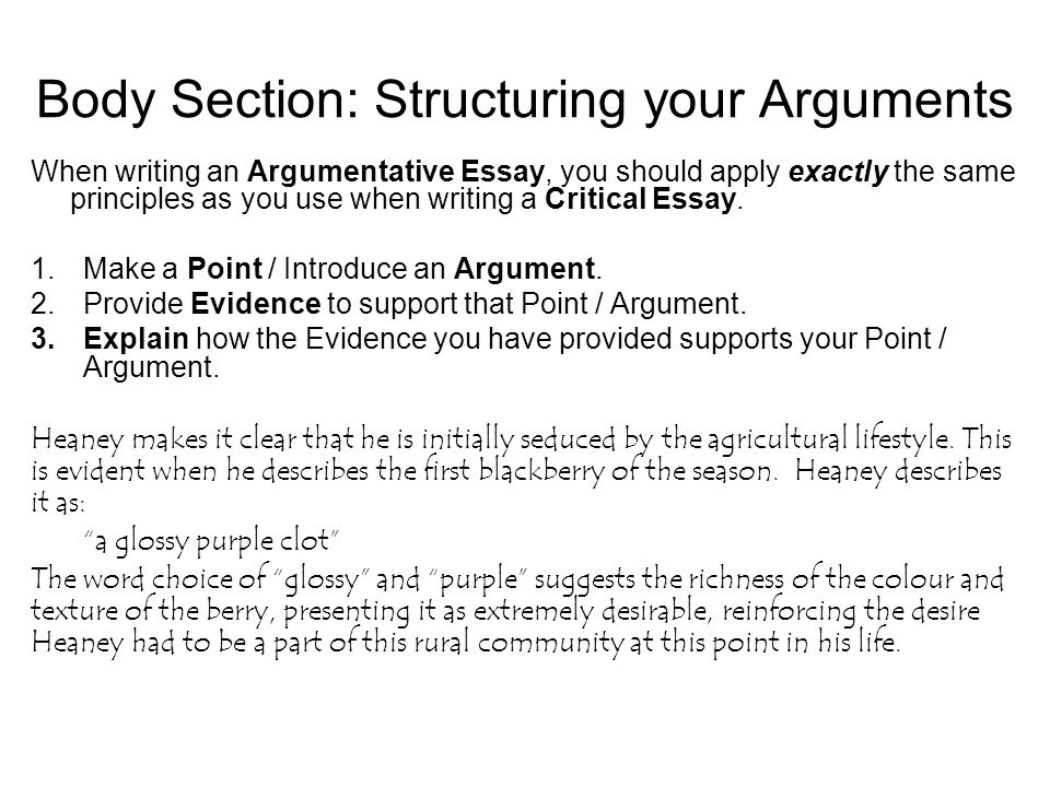 argumentative essay structuring your essay argumentative essay  body section structuring your arguments when writing an argumentative essay you should apply exactly