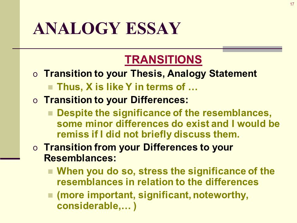 17 ANALOGY ESSAY TRANSITIONS o Transition to your Thesis, Analogy Statement Thus, X is like Y in terms of … o Transition to your Differences: Despite the significance of the resemblances, some minor differences do exist and I would be remiss if I did not briefly discuss them.