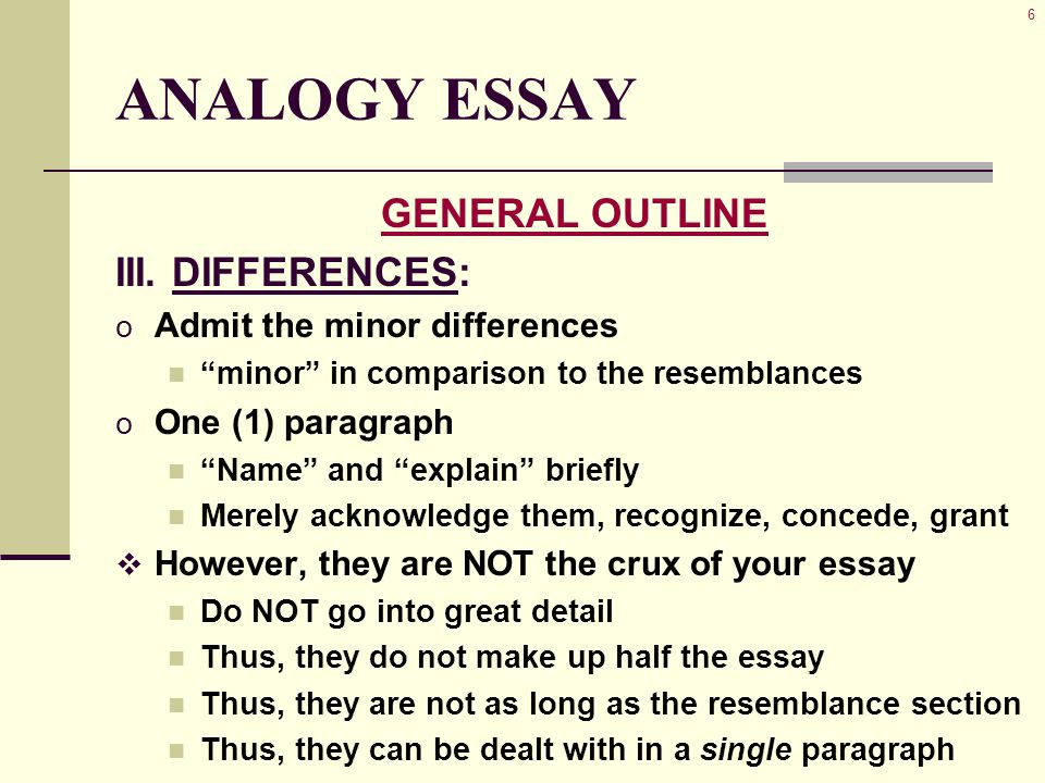 6 ANALOGY ESSAY GENERAL OUTLINE III.