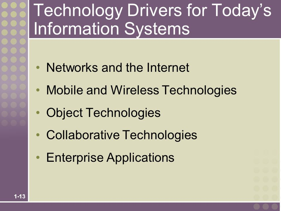 1-13 Technology Drivers for Today's Information Systems Networks and the Internet Mobile and Wireless Technologies Object Technologies Collaborative Technologies Enterprise Applications