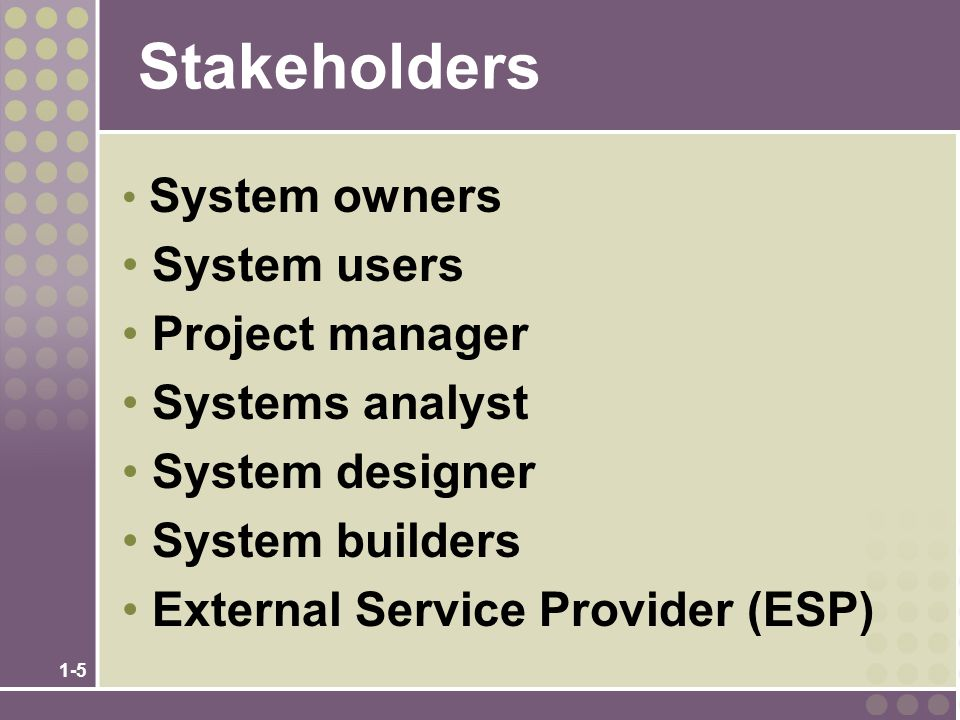 1-5 Stakeholders System owners System users Project manager Systems analyst System designer System builders External Service Provider (ESP)