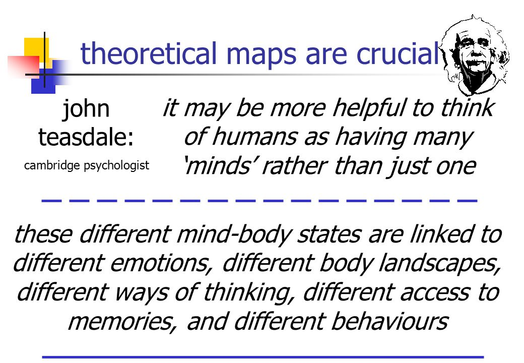 theoretical maps are crucial it may be more helpful to think of humans as having many 'minds' rather than just one john teasdale: cambridge psychologi
