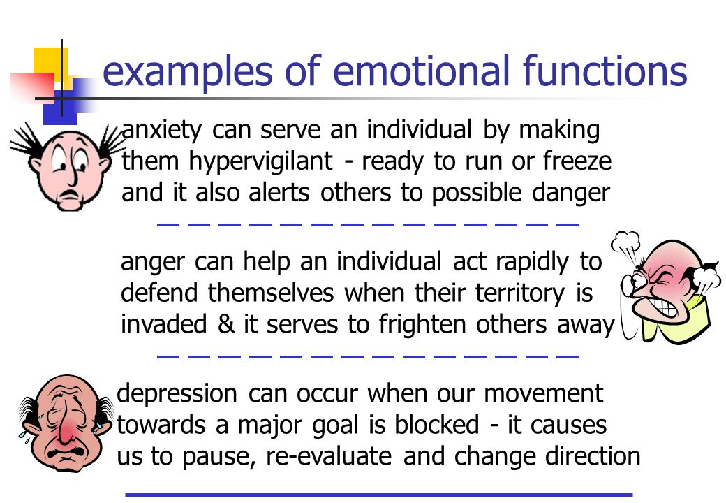 examples of emotional functions anxiety can serve an individual by making them hypervigilant - ready to run or freeze and it also alerts others to pos