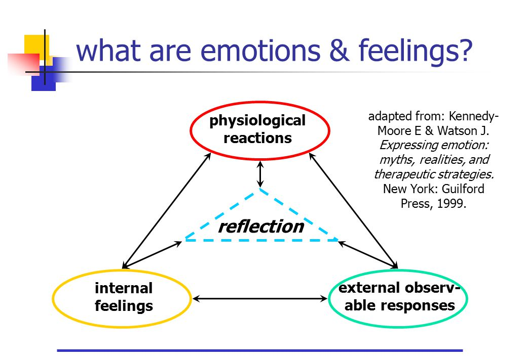 what are emotions & feelings? internal feelings physiological reactions reflection external observ- able responses adapted from: Kennedy- Moore E & Wa