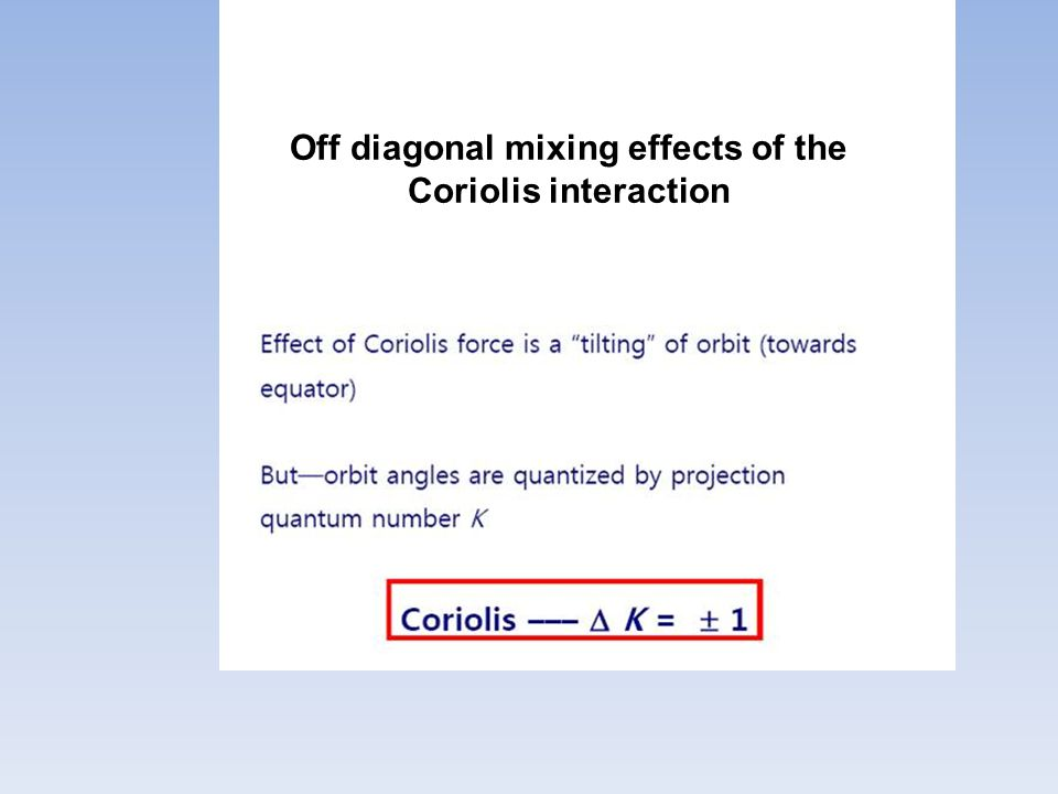 Off diagonal mixing effects of the Coriolis interaction