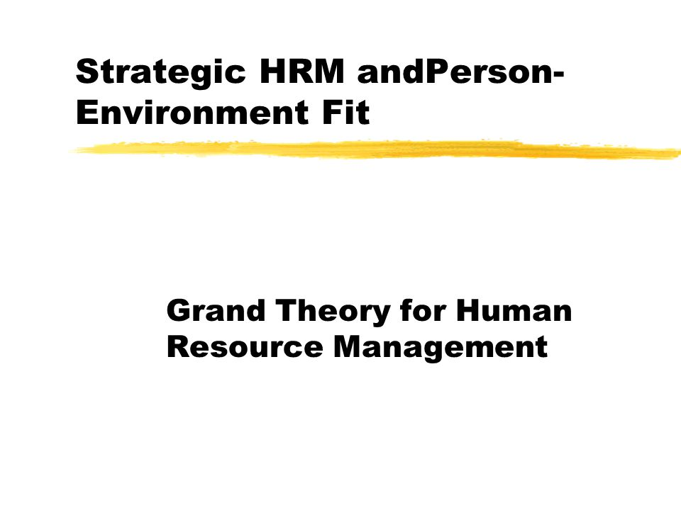 Strategic HRM andPerson- Environment Fit Grand Theory for Human Resource Management