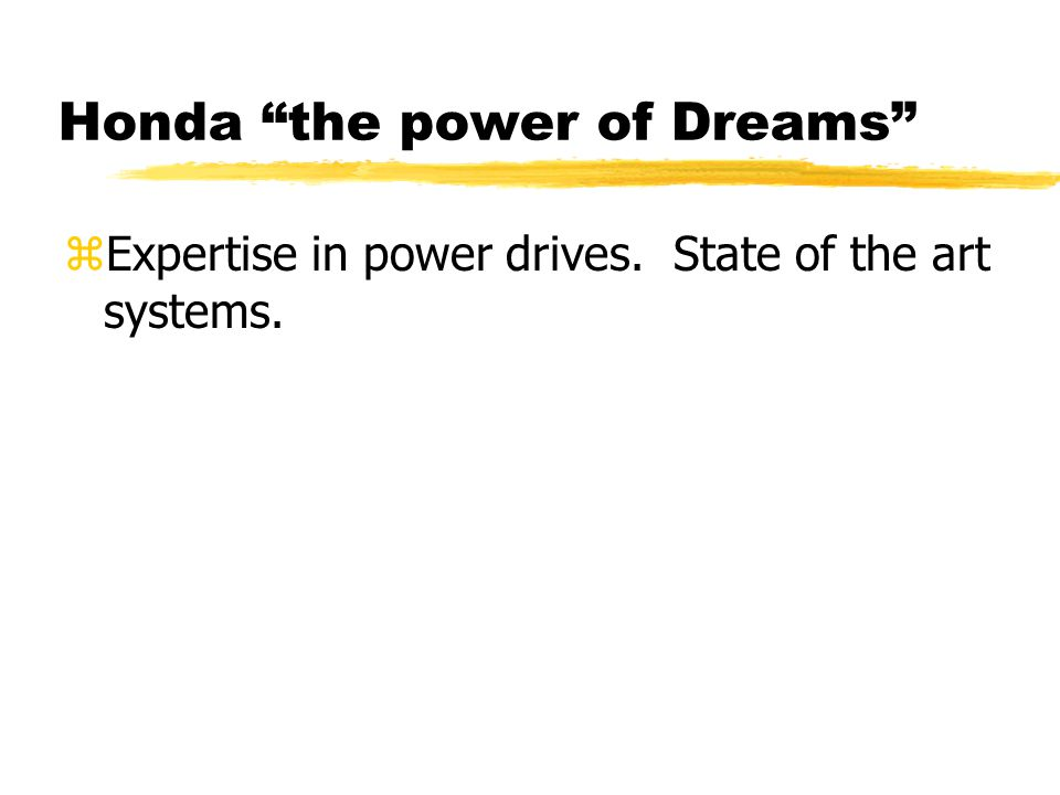 Honda the power of Dreams zExpertise in power drives. State of the art systems.