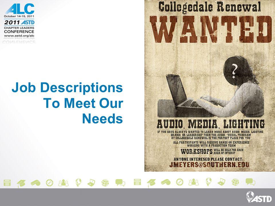 Job Descriptions To Meet Our Needs